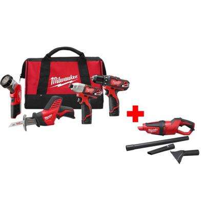 M12 12-Volt Lithium-Ion Cordless Combo Tool Kit (4-Tool) with Free M12 Compact Vacuum