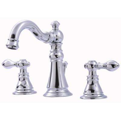 Signature Collection 8 in. Widespread 2-Handle Bathroom Faucet with Pop-Up Drain in Chrome