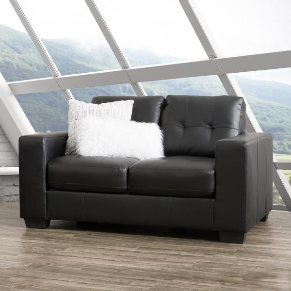 CorLiving Club Tufted Black Bonded Leather Loveseat LZY-101-L