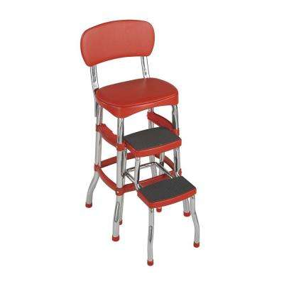 3 ft. Aluminum 2-Step Stool 225 lb. with Load Capacity in Red