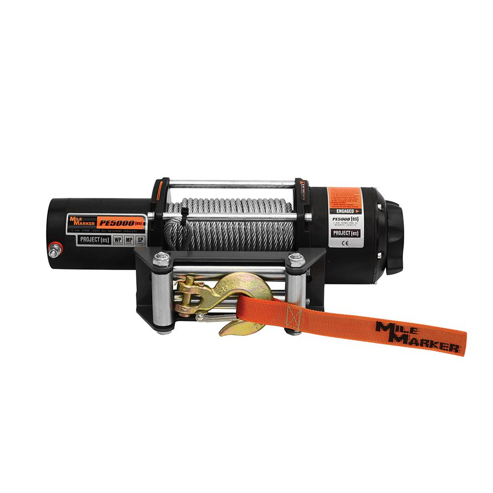 Mile Marker 5 000 Lb Capacity Pe5000 Utv Winch With Cable And Remote 77 50120w The Home Depot
