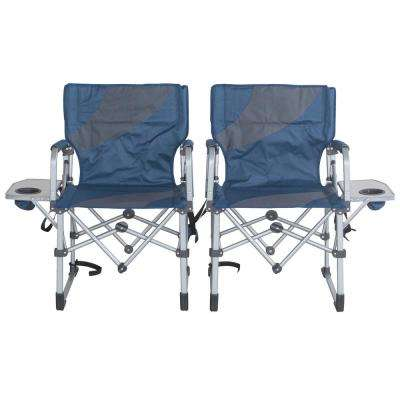 Folding Camping Chairs with Side Table (Set of 2)