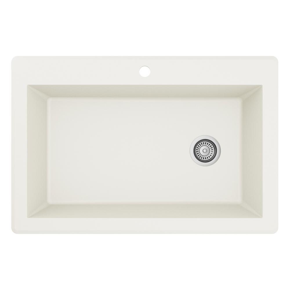 Karran Drop-In Quartz Composite 33 in. 1-Hole Single Bowl Kitchen Sink in White