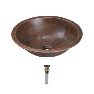 Dual-Mount Bathroom Sink in Bronze with Grid Drain in Oil Rubbed Bronze
