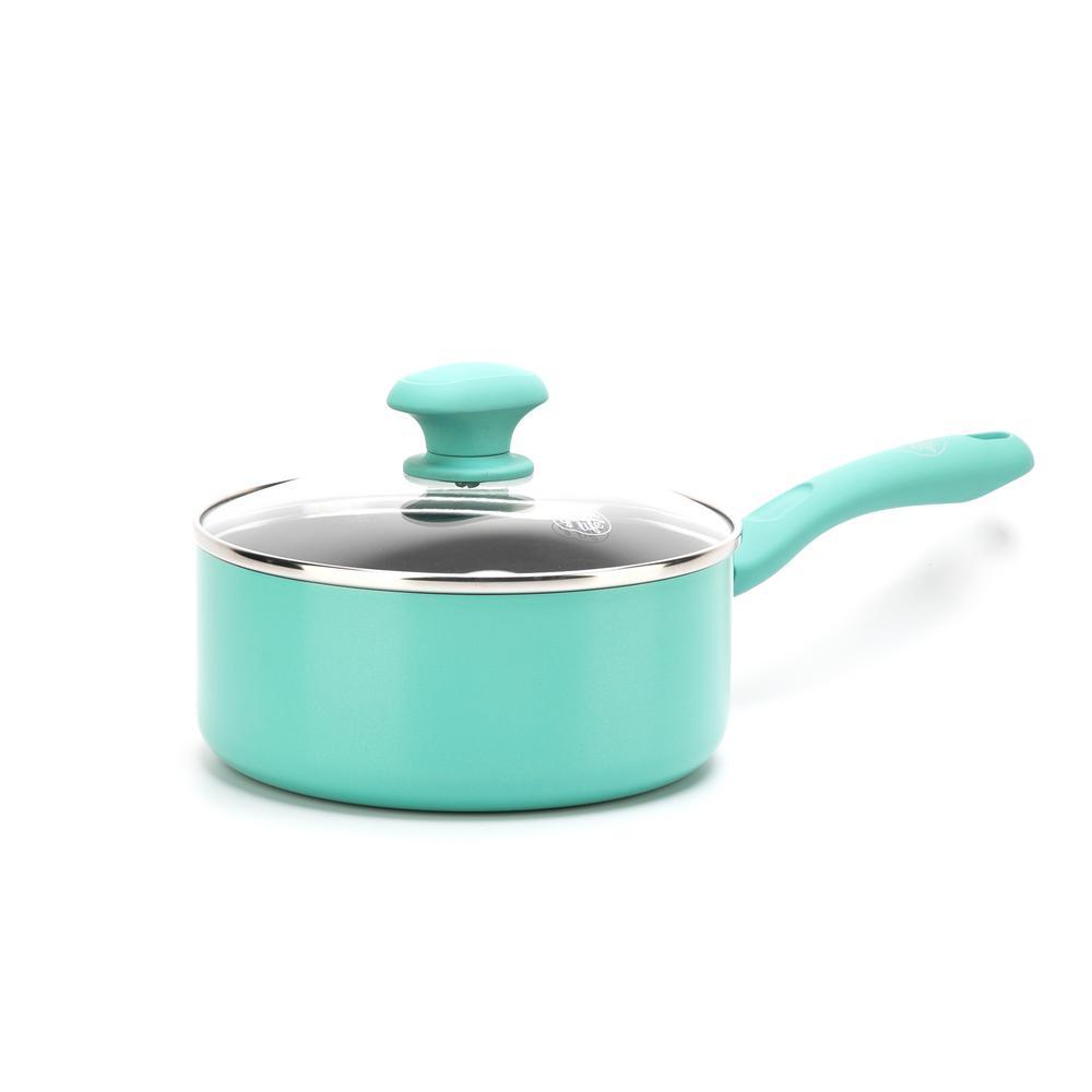 Diamond 2.5 qt. Aluminum Ceramic Nonstick Sauce Pan in Turquoise with Glass Lid