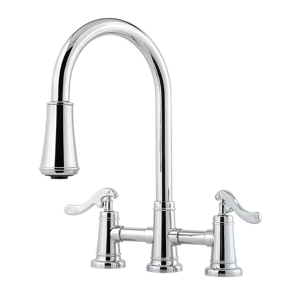 2 handle pull down kitchen faucet pfister ashfield 2 handle bridge kitchen faucet with pull 26286
