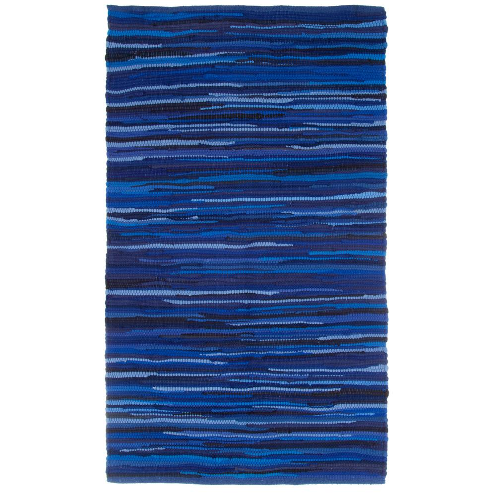 Lavish Home Chindi Tonal Navy 2 Ft X 4 Ft Area Rug 69 T 2745 N