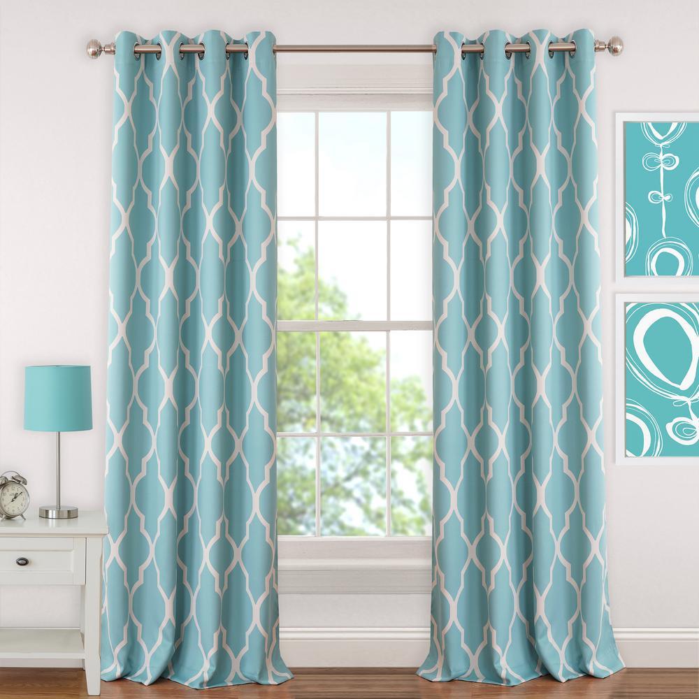 Blackout Emery 52 in.W x63 in.L, Juvenile Teen or Tween Blackout Room Darkening Grommet Window Curtain Drape Panel, Aqua