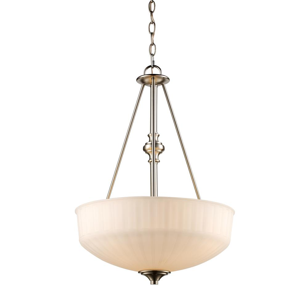 Bel Air Lighting Cahill 3 Light Brushed Nickel Pendant