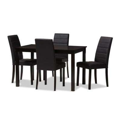 Lorelle 5-Piece Dark Brown Dining Set