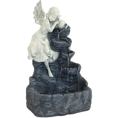 29 in. Angel Falls Solar Cascading Water Fountain with Battery Backup and LED Light
