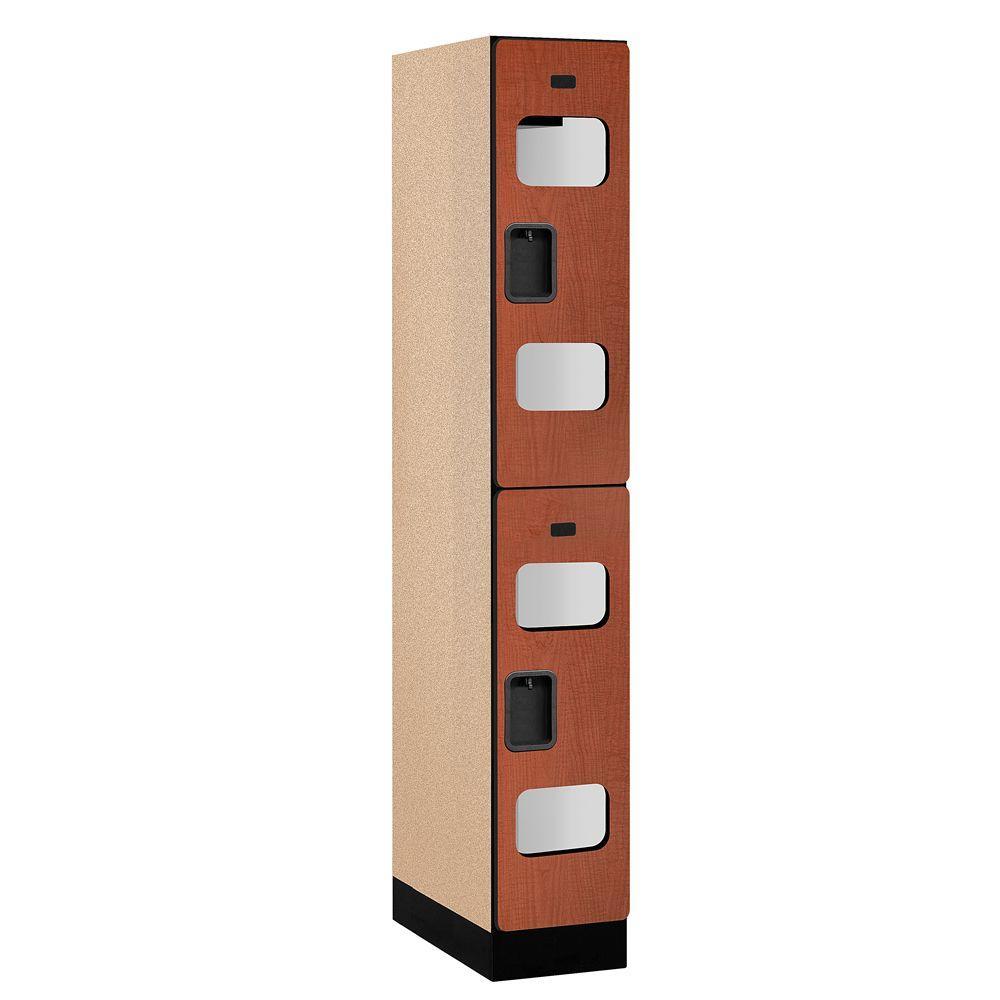 Salsbury Industries S-32000 Series 12 in. W x 76 in. H x 21 in. D 2-Tier See-Through Designer Wood Locker in Cherry