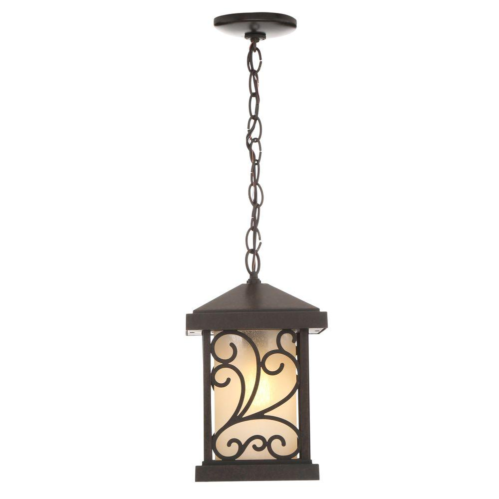 Cypress collection 1 light outdoor forged bronze hanging lantern