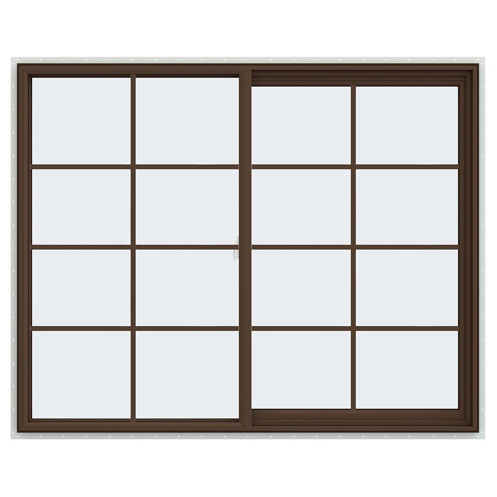 JELD-WEN 59.5 in. x 47.5 in. V-2500 Series Right-Hand Sliding Vinyl Window with Grids - Brown