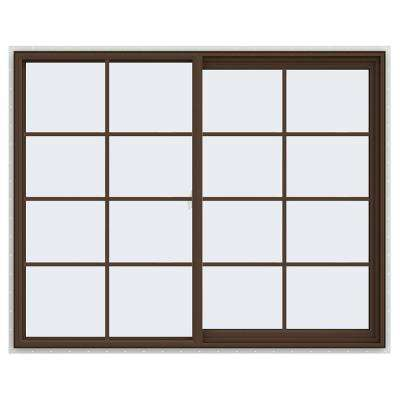 59.5 in. x 47.5 in. V-2500 Series Brown Painted Vinyl Right-Handed Sliding Window with Colonial Grids/Grilles