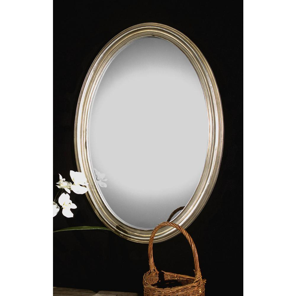 Global Direct 31 in. x 21 in. Silver Oval Framed Mirror