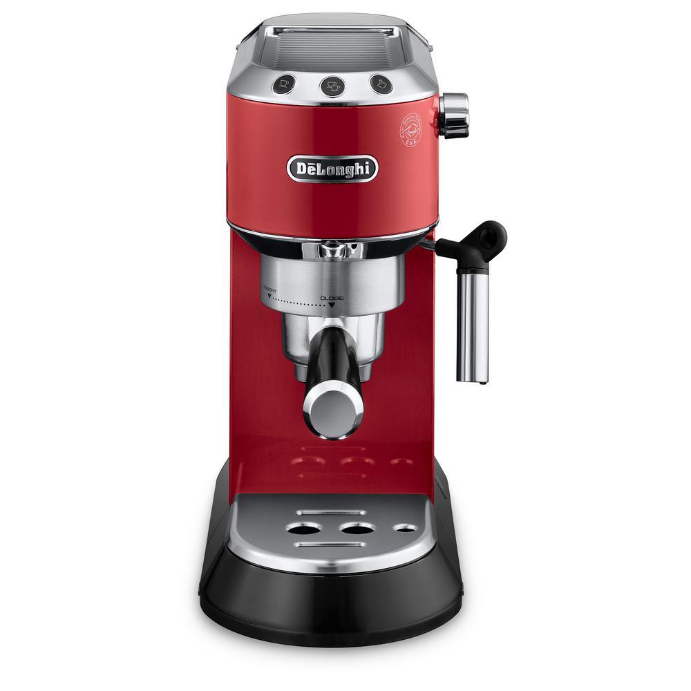 Dedica EC860 15-Bar Red Stainless Steel Slim Espresso Machine and Cappuccino Maker