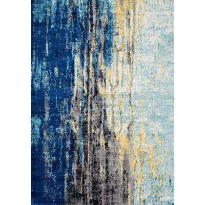 Waterfall Vintage Abstract Blue 8 ft. x 10 ft. Area Rug