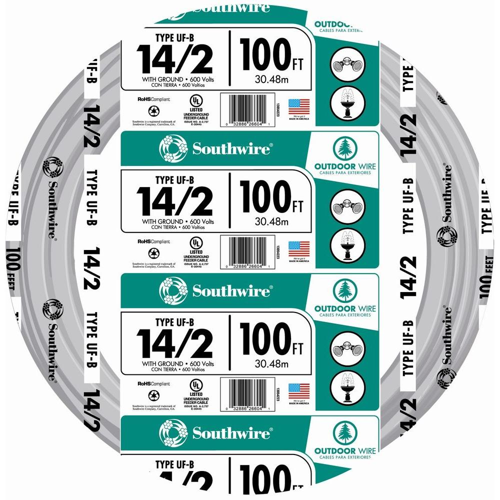 12//2 W//GR 30/' FT UF-B OUTDOOR DIRECT BURIAL//SUNLIGHT RESISTANT ELECTRICAL WIRE
