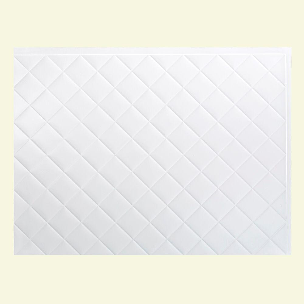 Quilted 18 in. x 24 in. Gloss White Vinyl Decorative Wall