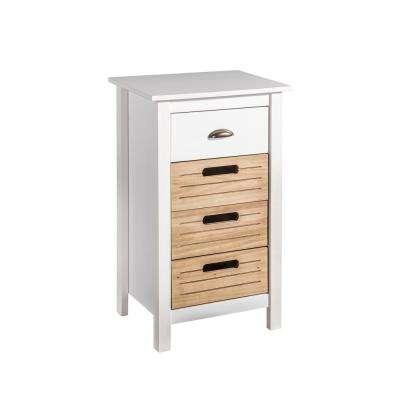 Irving 4-Drawer White and Natural Wood Dresser