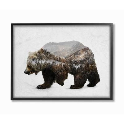 """24 in. x 30 in. """"Bear Silhouette Mountain Range Photography"""" by Anna Dittman Framed Wall Art"""