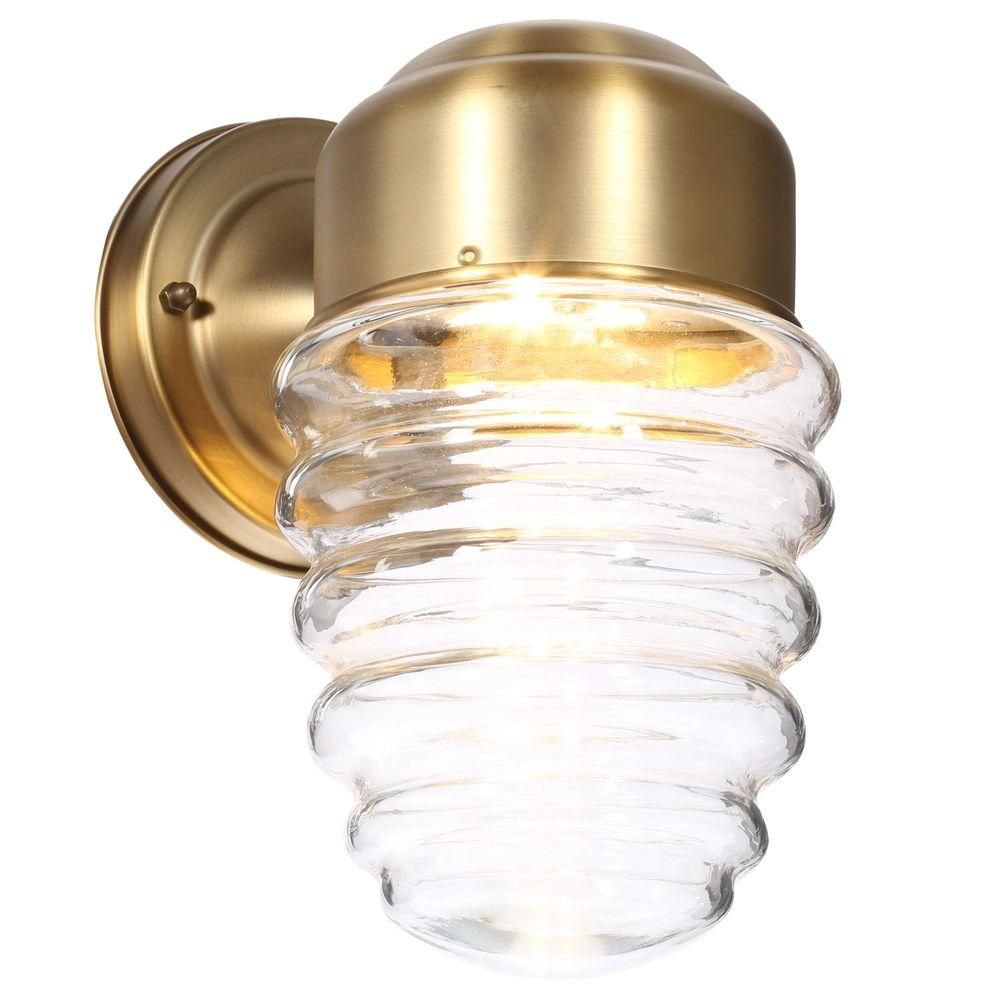 Hampton Bay Clifon 1 Light Antique Brass Outdoor LED Powered Wall Lantern HB7052 02