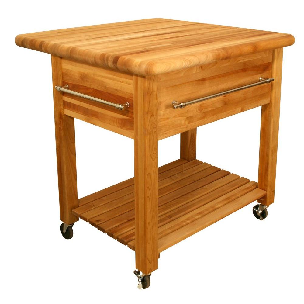 catskill craftsmen natural kitchen cart with storage 64024 the home depot. Black Bedroom Furniture Sets. Home Design Ideas