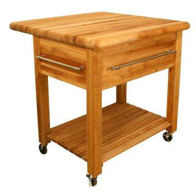 Grand Natural Kitchen Cart with Drop Leaf and Wine Rack
