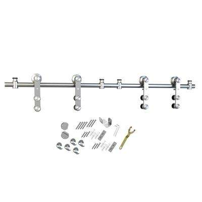 Stainless Steel Sliding Rolling Barn Door Hardware Kit for Double Wood Doors With Non-Routed Adjustable Floor Guides
