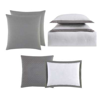 Everyday Hotel Border White and Grey 7 Piece Full / Queen Comforter Set