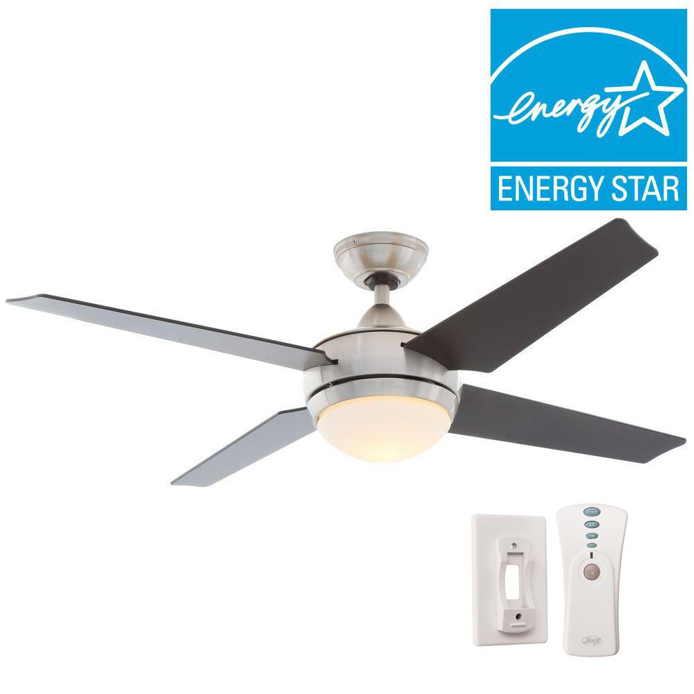 Hunter sonic 52 in indoor brushed nickel ceiling fan with light hunter sonic 52 in indoor brushed nickel ceiling fan with light kit and universal remote 59072 the home depot aloadofball Images