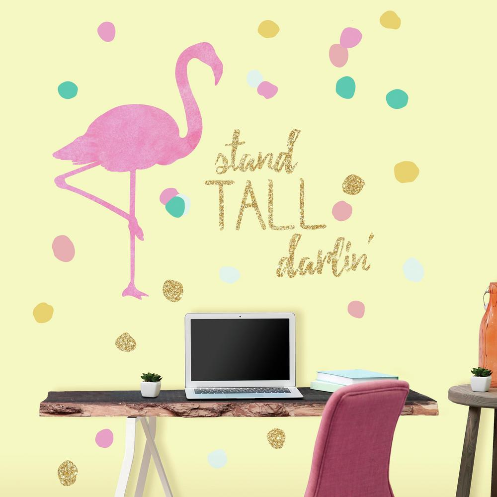 RoomMates 5 in. x 19 in. Stand Tall Flamingo 28-Piece Peel and Stick ...