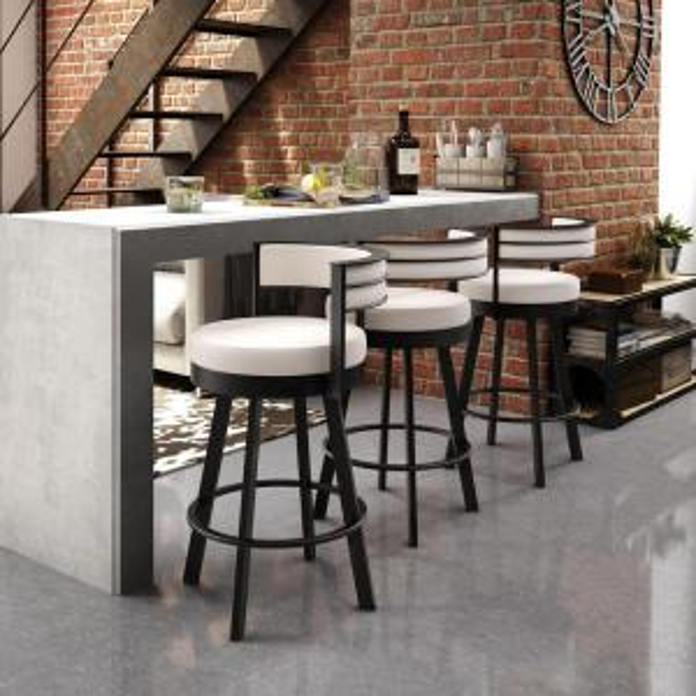 Incredible Amisco Browser 30 In Cream Faux Leather Dark Brown Metal Uwap Interior Chair Design Uwaporg