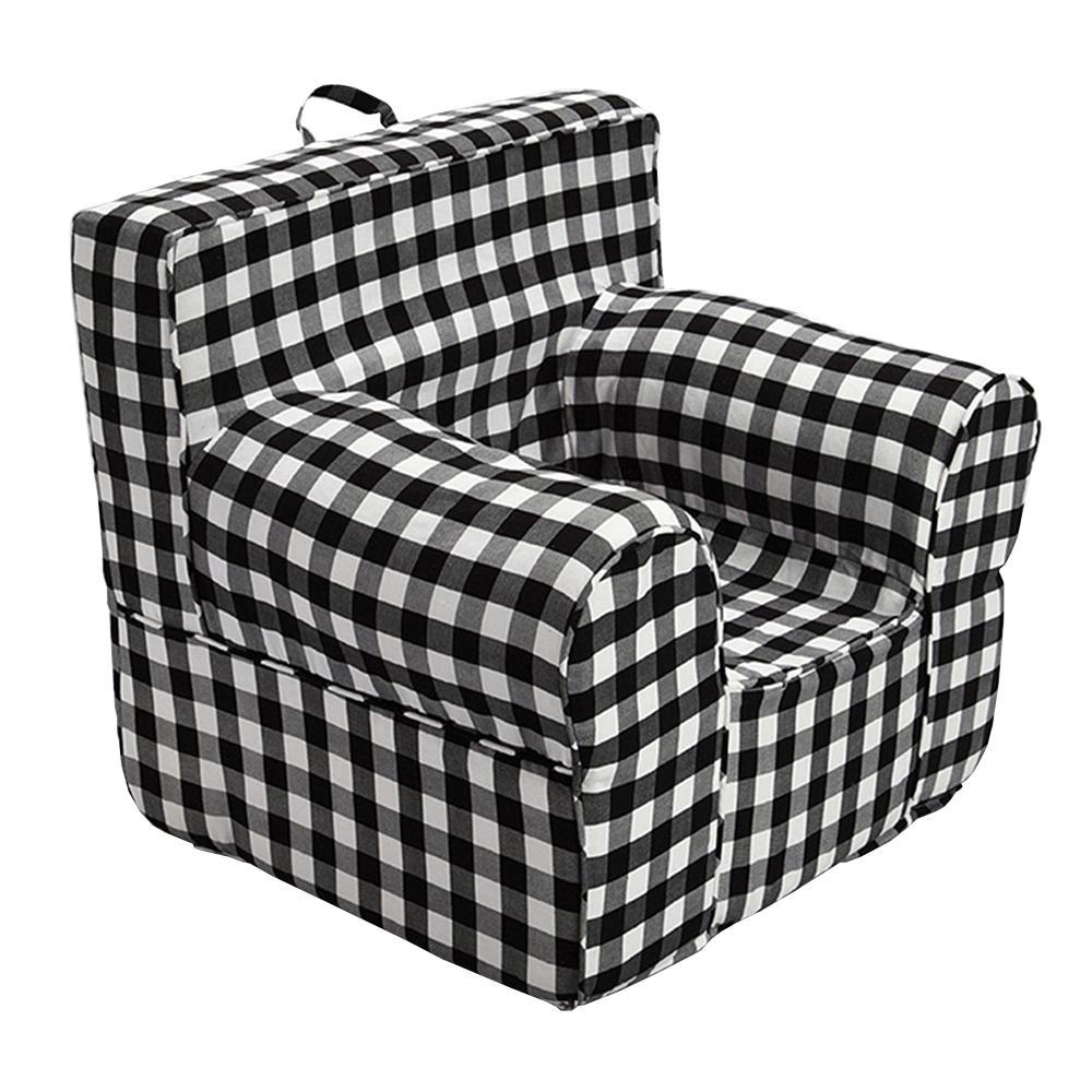 Fantastic Pdc Furniture Oversize Kids Foam Chair With Black Gingham Evergreenethics Interior Chair Design Evergreenethicsorg