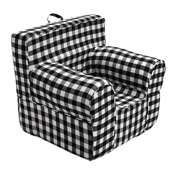 Oversize Kids Foam Chair With Black Gingham Cover