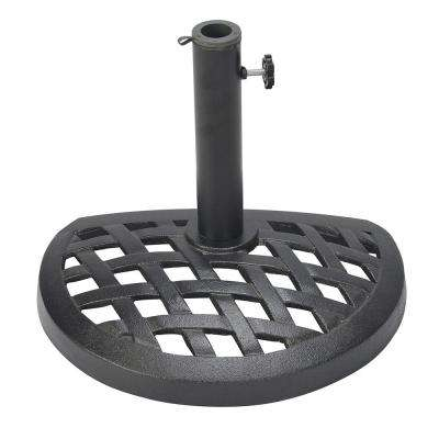 17.7 in. Dia Cast Iron Half Patio Umbrella Base in Black