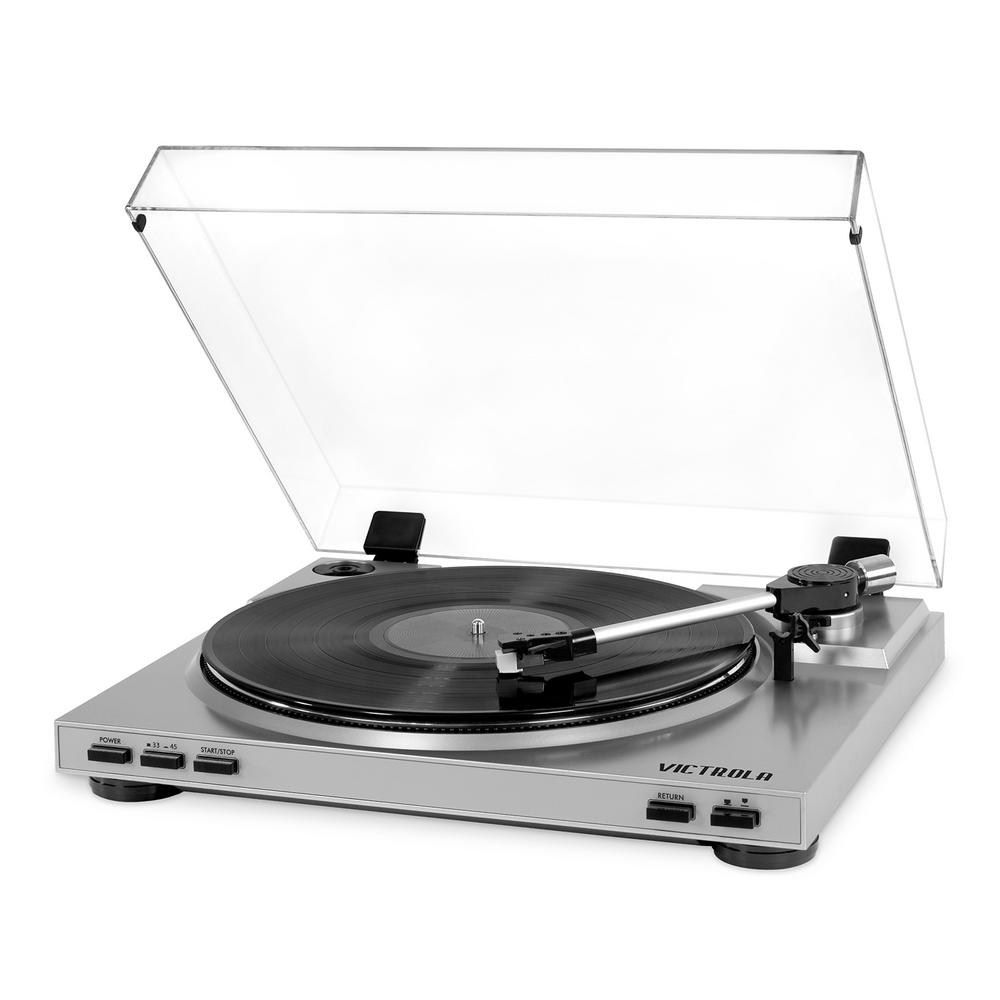Pro USB Record Player with 2-Speed Turntable and Dust Cover Our Victrola 2-Speed belt drive Pro USB Record Player is a fully automatic turntable with auto lift and auto return operation. Conveniently record from vinyl to MP3 with Mac/PC software. USB cable included.