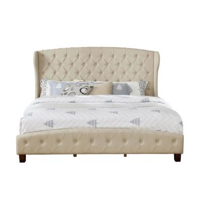Eastern Beige King Upholstered Shelter Bed