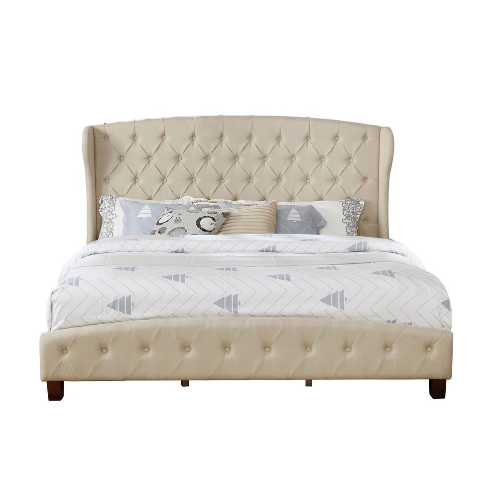 Nathaniel Home Eastern Beige King Upholstered Shelter Bed