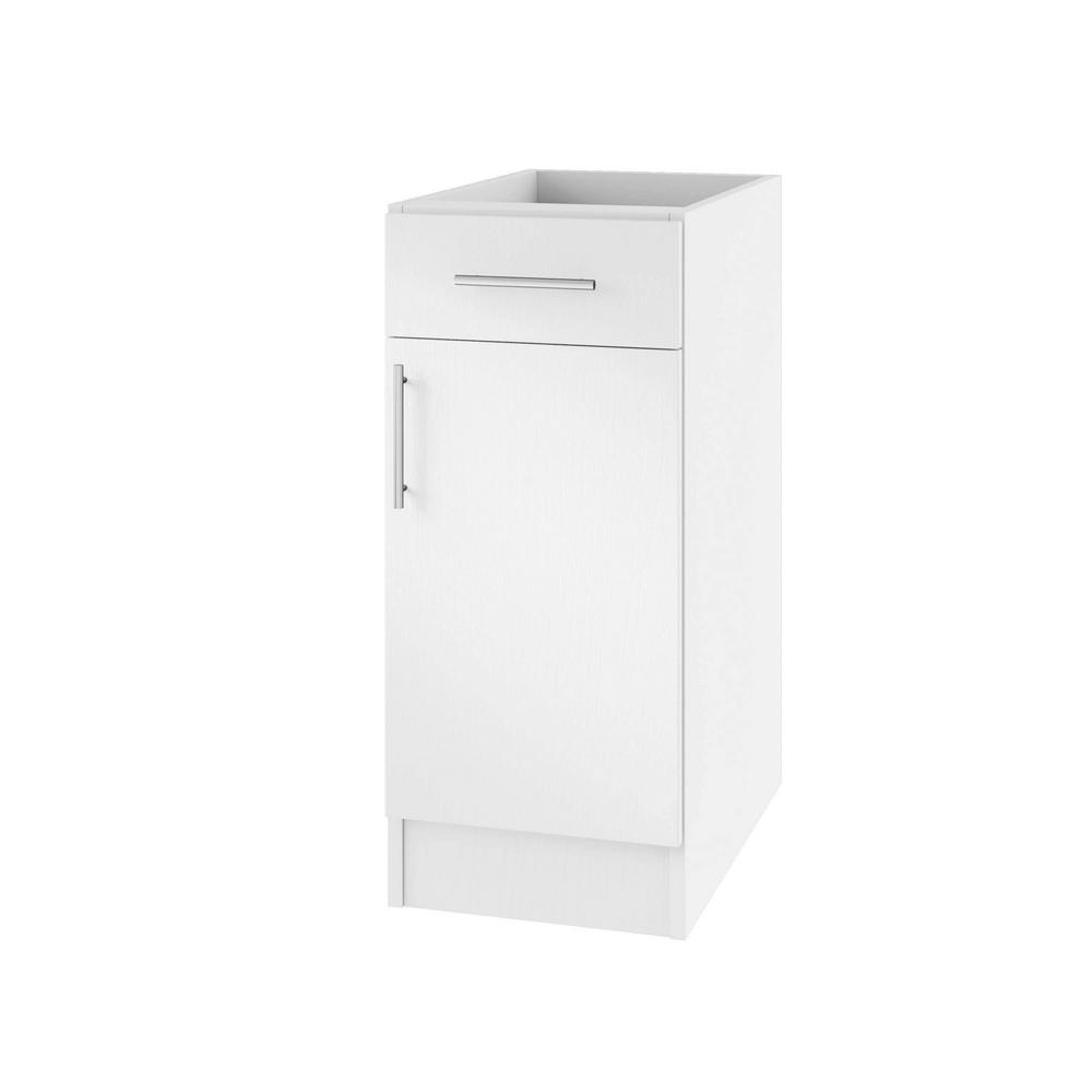 Miami Open Back Outdoor Kitchen Base Cabinet With 1 Door And Drawer Right In Radiant White