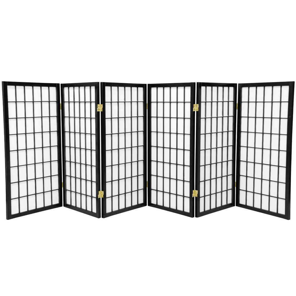 3 ft. Black 6-Panel Room Divider