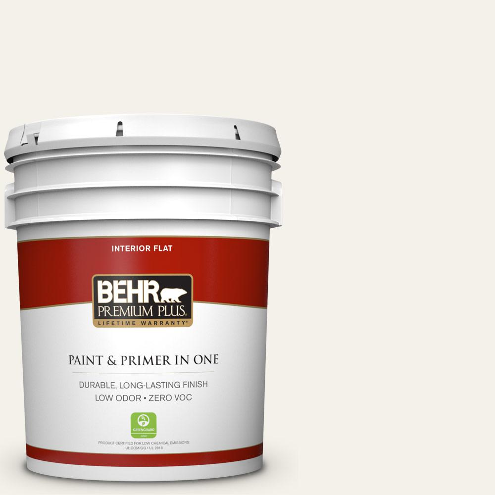 BEHR Premium Plus 5-gal. #PWN-50 Snowy Egret Zero VOC Flat Interior Paint