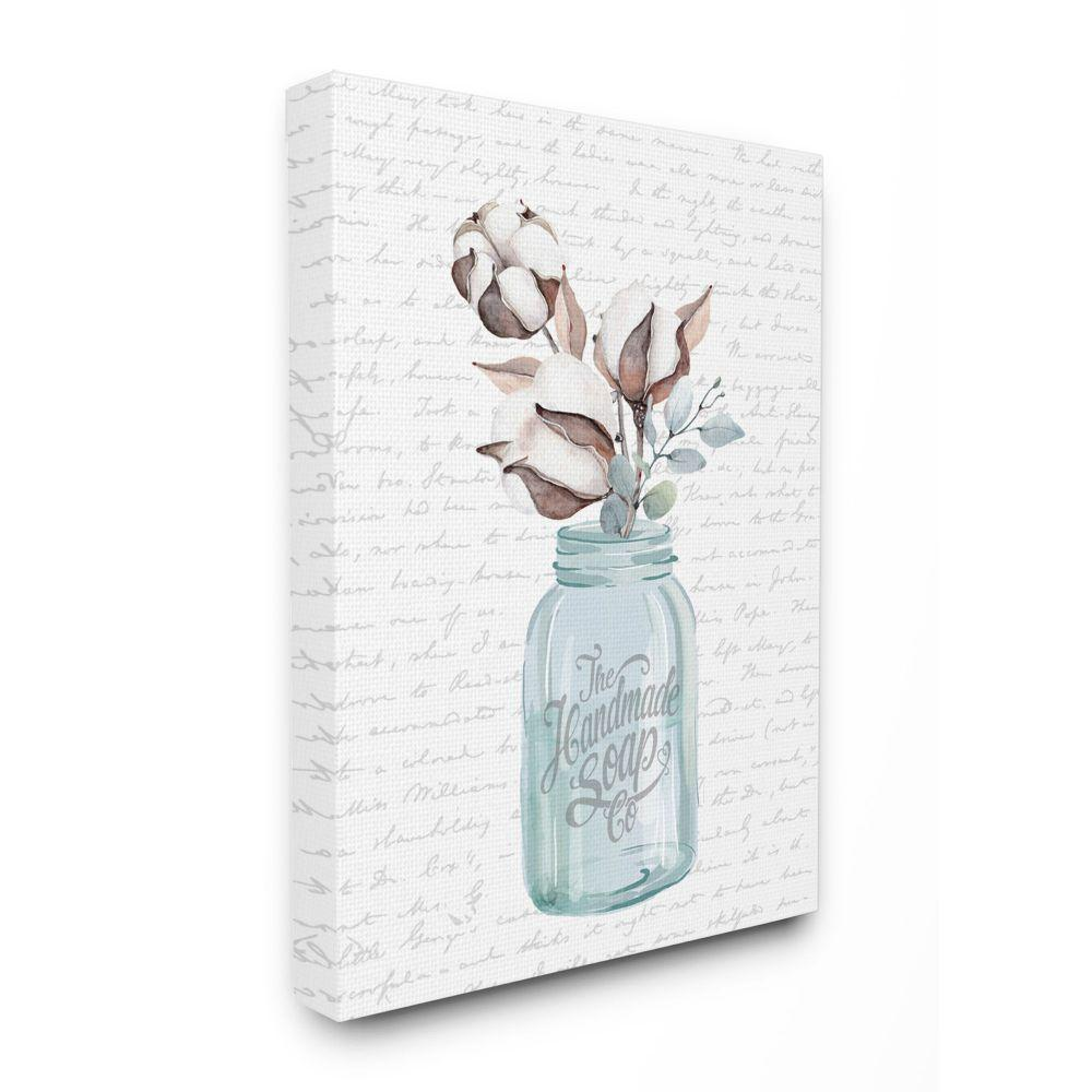 Stupell Industries Handmade Soap Jar Cotton Flower Bathroom Word Design By Lettered And Lined Canvas Abstract Wall Art 20 In X 16 In Wrp 1397 Cn 16x20 The Home Depot