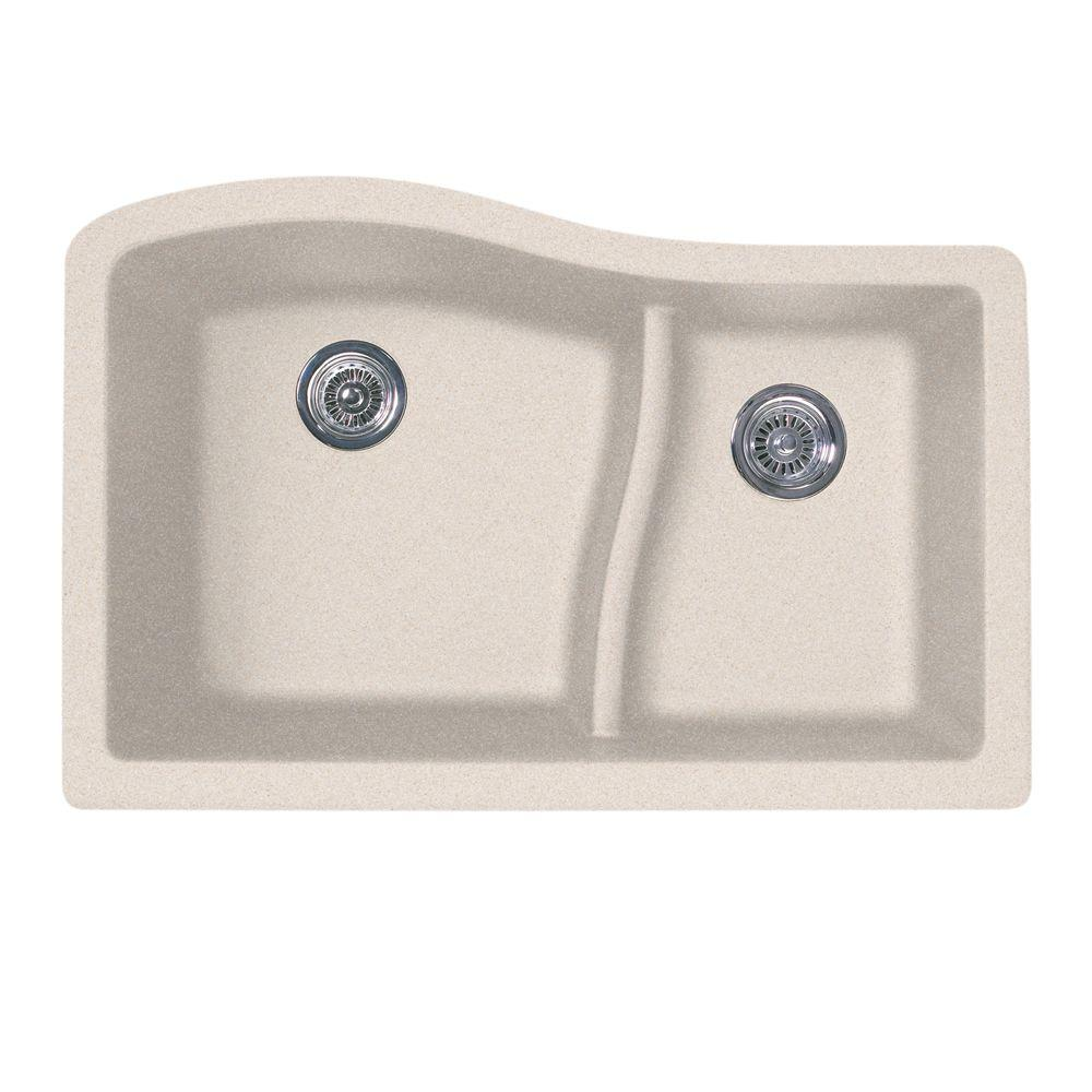 Swan Undermount 32 in. 0-Hole Double Basin Kitchen Sink in Granito