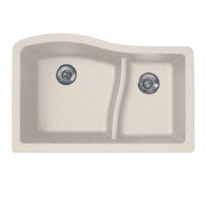 Undermount 32 In. 0 Hole Double Basin Kitchen Sink In Granito