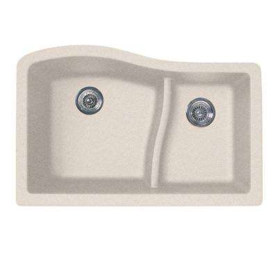 Undermount Granite 32 in. 0-Hole 60/40 Double Bowl Kitchen Sink in Granito