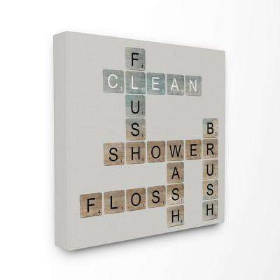 "24 in. x 24 in. ""Scrabble Bathroom Illustration"" by Longfellow Designs Printed Canvas Wall Art"