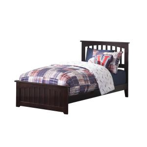 Mission Espresso Twin Traditional Bed with Matching Foot Board