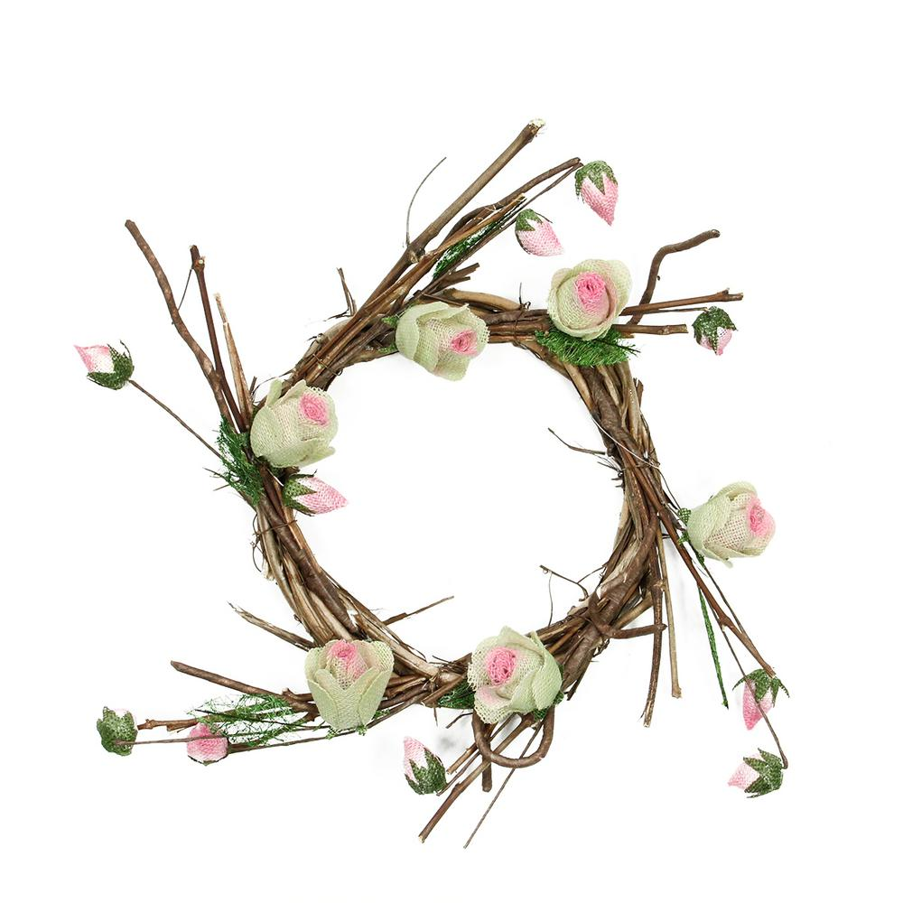 Northlight 11 in unlit brown cream and pink decorative artificial unlit brown cream and pink decorative artificial spring floral twig wreath mightylinksfo